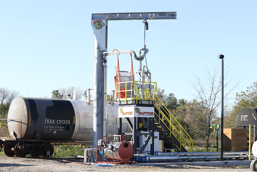 Raptor® Tank Cleaning System preparing to clean a railcar tank